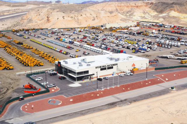 Aerial photo of the Ritchie Bros. record-breaking unreserved auction in Las Vegas, NV last week (US$60+ million on March 6 & 7, 2014) (CNW Group/Ritchie Bros. Auctioneers)