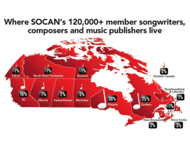 Where SOCAN's 120,000+ member songwriters, composers and music publishers live. (CNW Group/SOCAN)