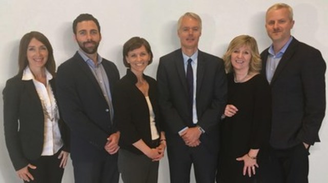 Newly formed Natural Products Canada will align and optimize existing assets, expertise, and investments into a national ecosystem to accelerate the commercialization of natural products and technology platforms. From left to right: Sue Coueslan, Paul-Thomas Lacroix, Karen Wight, David Gauthier, Shelley King (CEO), and Stephen Ball. (CNW Group/Natural Products Canada)