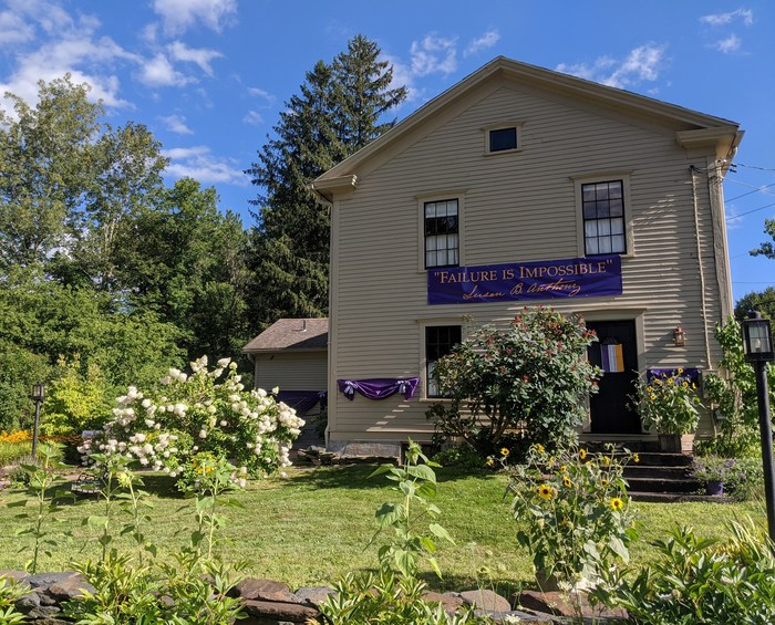"""""""Failure is Impossible"""" – Susan B. Anthony. Susan B. Anthony fought tirelessly to give women the right to vote. Visitors to her birthplace in Adams, Mass., are taking selfies in front of the family home bedecked in suffrage banners."""