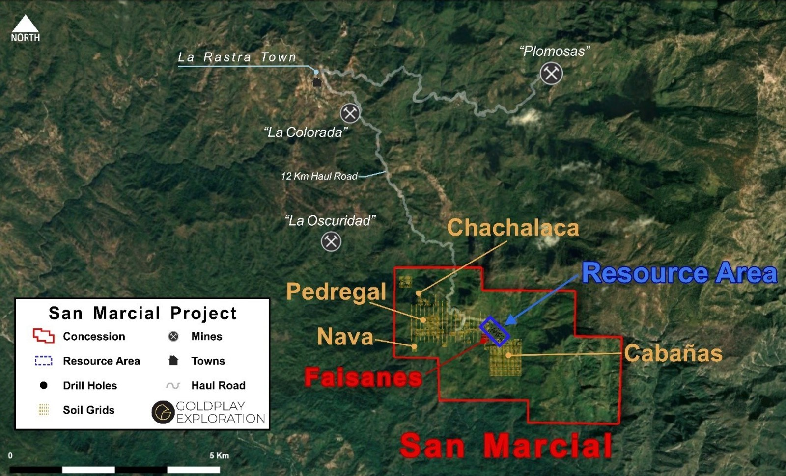 Figure 1 San Marcial - Location of Resource Area and New Targets Inside Concession
