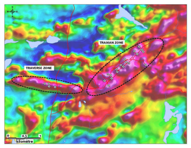 Magnetic geophysical survey showing magnetic anomalies associated to Traverse and TraMan Zones. (CNW Group/Arianne Phosphate Inc.)