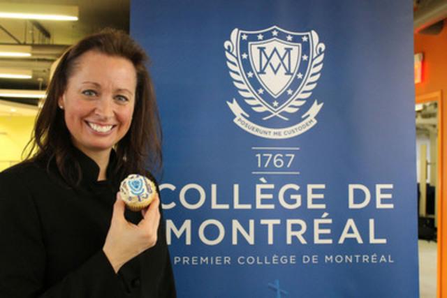 Le 2 février, Patricia Steben, directrice générale du Collège de Montréal, a révélé la nouvelle identité visuelle du Collège aux élèves et membres du personnel, à l'occasion du 248e anniversaire de l'institution. Ce jour de fête a été souligné par la distribution de 1500 «cupcakes» aux couleurs du nouveau logotype (Groupe CNW/Collège de Montréal)