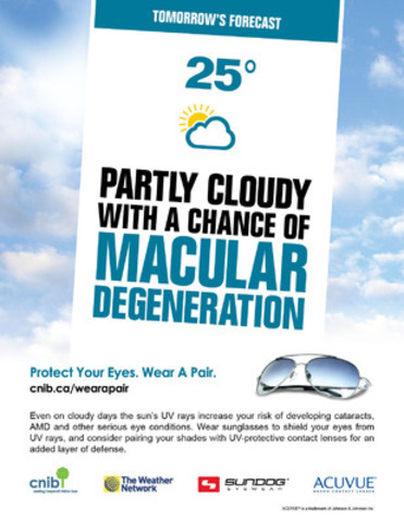 This summer, CNIB and its partners The Weather Network, Sundog Eyewear and ACUVUE® brand contact lenses are calling upon Canadians of all ages to wear UV-protective sunglasses whenever outside. (CNW Group/CNIB)