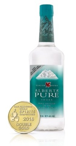 Recognized as one of the best Vodkas in the world, Alberta Pure Vodka wins double gold at the 2016 San Francisco World Spirits Competition. Its fourth big win at the annual competition. (CNW Group/Beam Suntory Inc.)