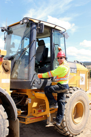 Merle Cahoose, a member of the Ulkatcho First Nation, graduated from AMTA's Heavy Equipment Operator program in 2013. (CNW Group/Aboriginal Mentoring & Training Association (AMTA))