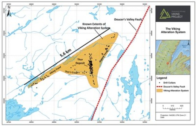 Exhibit B.  A map showing the key areas of interest within the Viking Project and the known extents of the broad alteration system outlined at Viking during the Phase 1 Exploration Program. (CNW Group/Anaconda Mining Inc.)