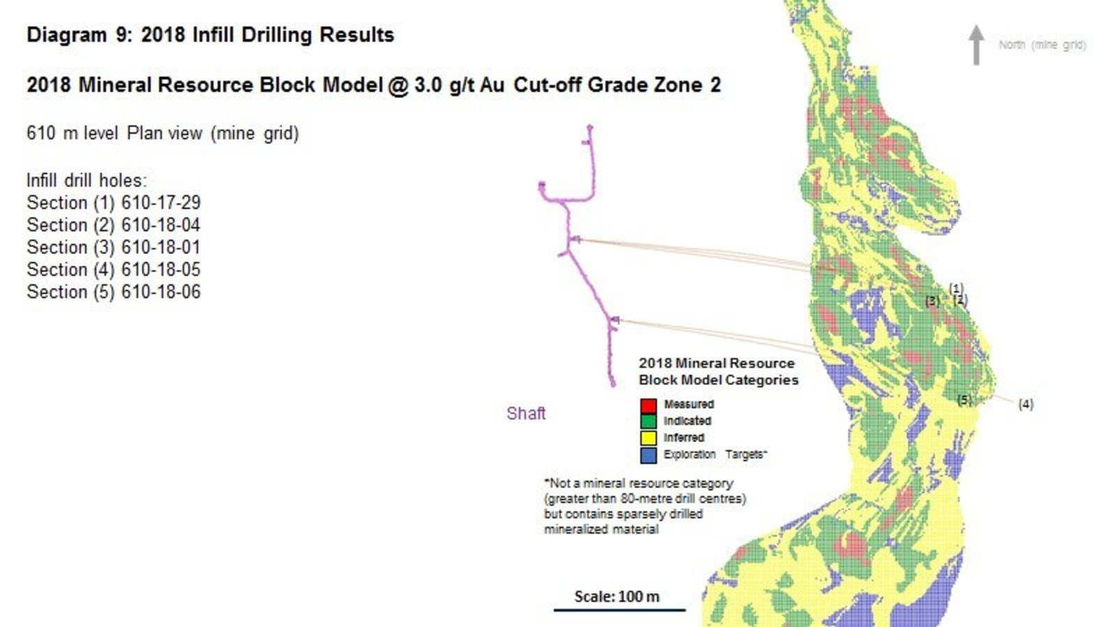 Diagram 9 : 2018 Infill Drilling Results - 2018 Mineral Resource Block Model @ 3.0 g/t Au Cut-off Grade Zone 2