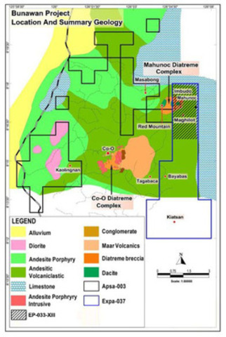Figure 1 - Location Plan with Regional Geology Showing Both the Co-O and Mahunoc Diatreme Complexes (CNW Group/RTG Mining Inc.)
