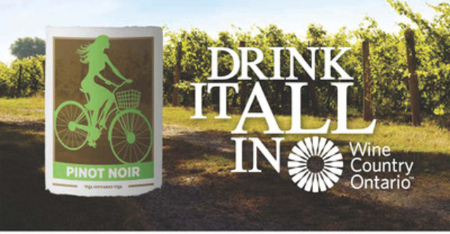 """Drink It All In"" Billboard #1 - Cycling through Wine Country Ontario (CNW Group/Wine Country Ontario)"