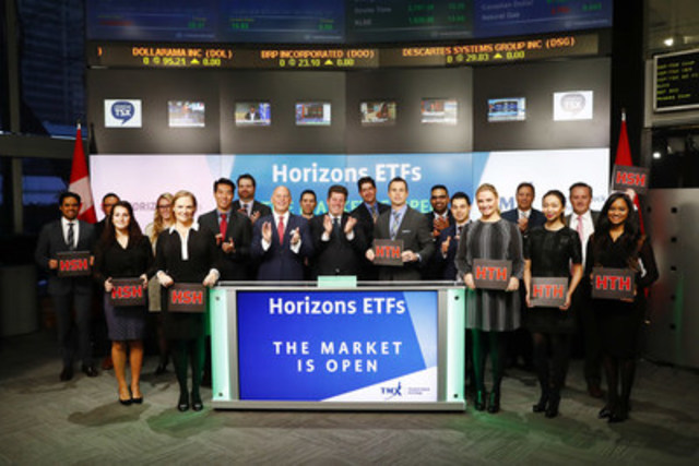 Steve Hawkins, President & Co-CEO, Horizons ETFs, joined Rob Peterman, Director, Global Business Development, Toronto Stock Exchange and TSX Venture Exchange to open the market to launch two new Exchange-Traded Funds: Horizons S&P 500 CAD Hedged Index ETF (HSH); and Horizons US 7-10 Year Treasury Bond CAD Hedged ETF (HTH). Horizons ETFs is a financial services company and a subsidiary of the Mirae Asset Financial Group. Horizons ETFs currently has 75 ETFs listed on the Toronto Stock Exchange with a market value of $6.5 billion. HSH; and HTH; commenced trading on Toronto Stock Exchange on September 20, 2016. (CNW Group/TMX Group Limited)