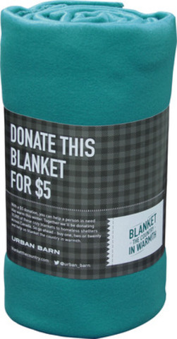 With every $5.00 donation at Urban Barn stores across Canada through December 8th, a brand-new fleece blanket will be donated to a local community shelter. (CNW Group/Urban Barn)
