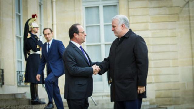 Paris, France, le 23 novembre 2016. – Le premier ministre, Philippe Couillard, a rencontré le président de la République française, François Hollande. (Groupe CNW/Cabinet du premier ministre)