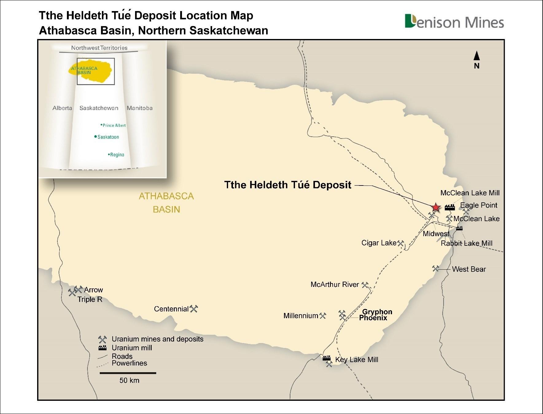 Figure 3 Tthe Heldeth Túé Deposit (Waterbury Lake) Regional Location Map (CNW Group/Denison Mines Corp.)