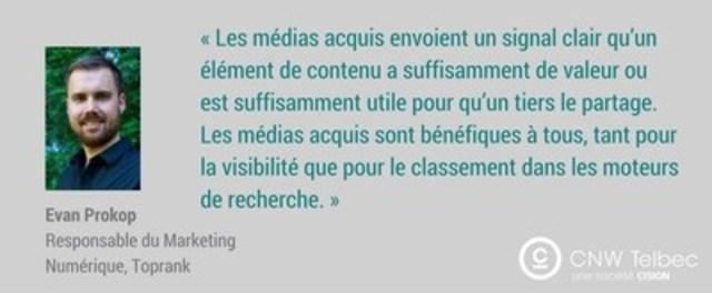 FAQ : Un spécialiste du référencement explique comment les médias acquis peuvent optimiser votre référencement (Groupe CNW/Groupe CNW Ltée)
