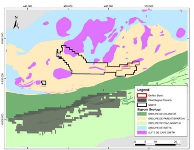 Figure 5 – Géologie de la ceinture de Cape Smith montrant les propriétés Qiqavik et West Raglan (Groupe CNW/RNC Minerals)