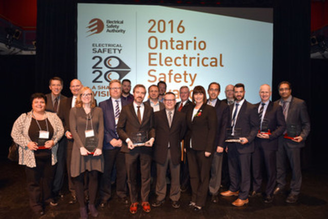 The 2016 Ontario Electrical Safety Awards celebrated safety leaders with a strong commitment to electrical safety in Ontario. Award winners are pictured above with the Hon. Marie-France Lalonde, Minister of Government and Consumer Services (centre, right) and the Electrical Safety Authority's Scott Saint, Chief Public Safety Officer (back, left). (CNW Group/Electrical Safety Authority)
