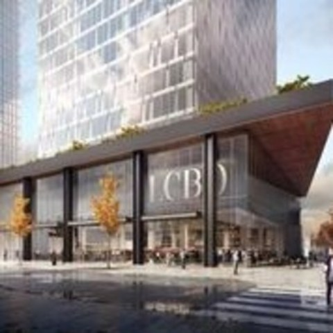 View of flagship LCBO store at base of proposed office tower at 100 Queens Quay East. Image courtesy of Menkes Developments Ltd. (CNW Group/Menkes Developments Ltd.)