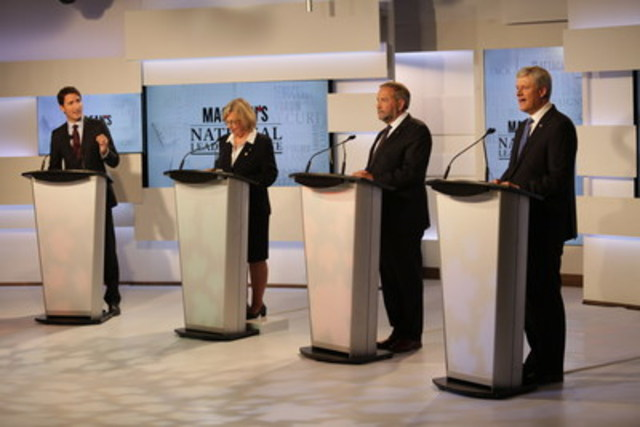 Justin Trudeau, leader of the Liberal Party of Canada; Elizabeth May, leader of the Green Party of Canada; Thomas Mulcair, leader of the New Democratic Party of Canada; and Stephen Harper, leader of the Conservative Party of Canada participate in the Maclean's National Leaders Debate at the City and OMNI Television studio in Toronto (CNW Group/Maclean's)