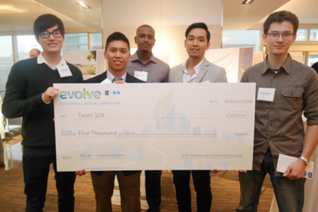 Lauréat - 5 000 $ : Victor Huynh, Kiwoon Oh, Lydon Whittle, Nikita Yakushev, Kevin Kyung Lee. Université Ryerson (Groupe CNW/RBC (French))