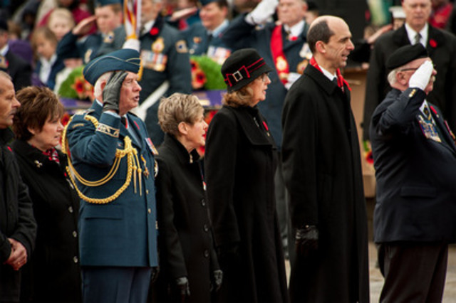 L-R: Roxanne Priede, Silver Cross Mother, David Johnston, Governor General and Commander-in-Chief of Canada, Sharon Johnston, Marjory LeBreton, Leader of the Government in the Senate, Steven Blaney, Minister of Veterans Affairs, and Gordon Moore, Dominion President, The Royal Canadian Legion. (CNW Group/Veterans Affairs Canada)