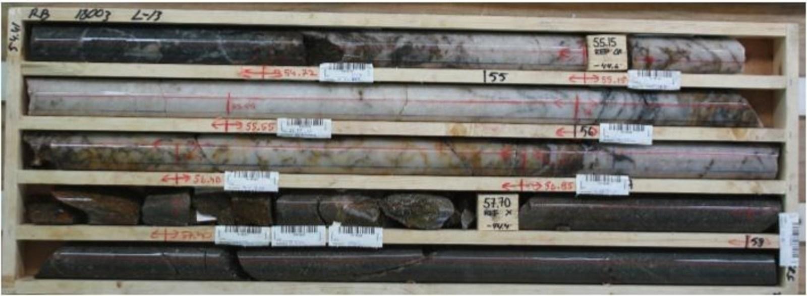 Aamurusko West; Quartz vein in drillhole RB18003; assays pending