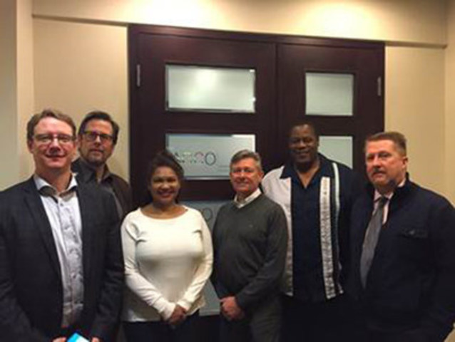 From left to right: Burke Moffat, AMAPCEO Labour Relations Specialist, Bernard King, OPSEU Staff Representative, Allyson Williams, AMAPCEO ORC Transition Team, Gunnar Lindberg, AMAPCEO ORC Transition Team, Nigel Edwards, President OPSEU Local 565, Dave Bulmer, AMAPCEO President (CNW Group/Ontario Public Service Employees Union (OPSEU))