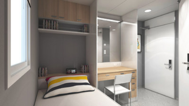Configuration et conception d'une cabine en occupation simple à bord du MS Asterix (Groupe CNW/Chantier Davie Canada Inc.)