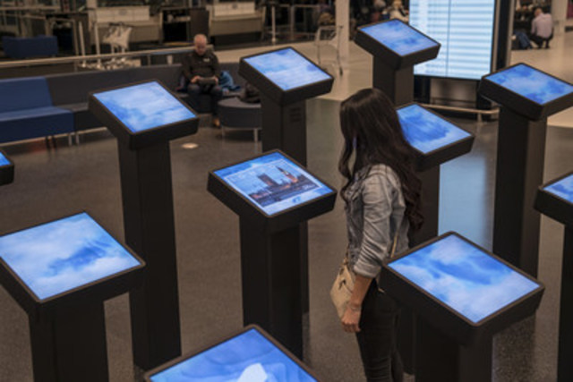 A new permanent multimedia installation created by Moment Factory and set in the heart of Espace Air Transat at the Montréal–Trudeau airport. (CNW Group/Air Transat)