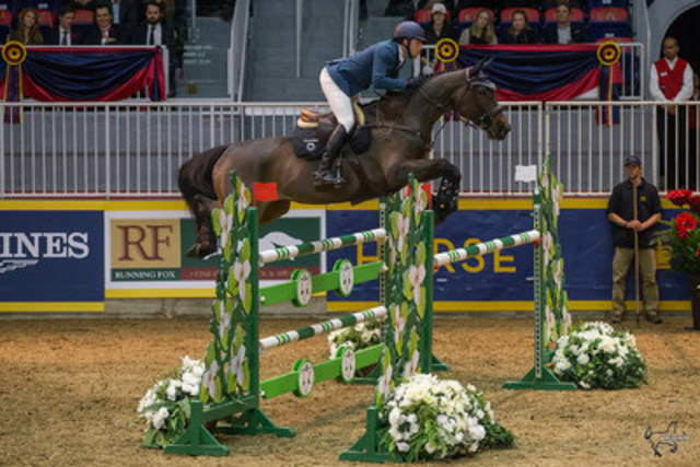 Colombia''s Daniel Bluman, pictured here riding Conconcreto Sancha LS, opened the international show jumping division of the Royal Horse Show® with a win in the $20,000 International Jumper Power and Speed on Tuesday, November 10. (CNW Group/Royal Agricultural Winter Fair)