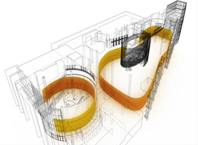Le ruban multimédia est un ruban unificateur, constitué d'un immense grillage métallique suspendu au plafond, sur lequel seront projetés des productions multimédia. Par ces projections lumineuses, le ruban crée différentes zones de divertissement tout en dynamisant l'ambiance et transformer l'habillage des lieux instantanément. (Groupe CNW/CASINO DU LAC-LEAMY)