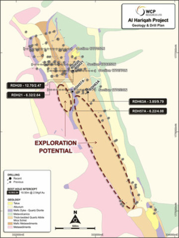 Figure 1 Al Hariqah Geology and Drill Hole Location Plan (CNW Group/Cantex Mine Development Corp.)