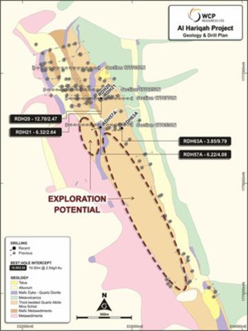 Figure 1 Al Hariqah Geology and Drill Hole Location Plan (CNW Group/Cantex Mine Development Corp.)