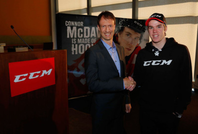 Connor McDavid, consensus #1 NHL Draft, is welcomed to the CCM Hockey family by Sean Williams, VP Marketing and North American Sales at Reebok-CCM Hockey, on June 4th during a press conference in Buffalo at the 2015 NHL Combine. Photo Credit: Bill Whippert, NHL Images (CNW Group/Reebok-CCM Hockey)