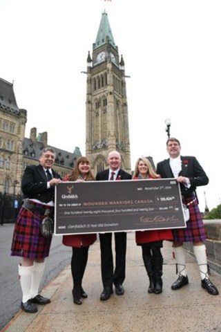 Glenfiddich presents Wounded Warriors Canada with fourth annual donation at press conference at Parliament Hill in Ottawa (CNW Group/William Grant & Sons Ltd.)