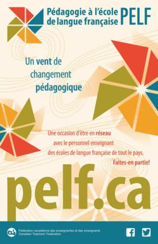 Le projet de Pédagogie à l''école de langue française (PELF) sera lancé demain par la Fédération canadienne des enseignantes et des enseignants (FCE). C''est la première fois dans l''histoire de l''éducation en français qu'un projet d''envergure propose une définition de ce qu''est la pédagogie en contexte francophone minoritaire canadien. (Groupe CNW/Fédération canadienne des enseignantes et des enseignants)