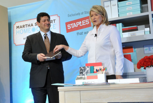 Martha Stewart demonstrates organizational solutions with Demos Parneros, president U.S. retail, Staples, during the launch of the Martha Stewart Home Office with Avery product line sold exclusively at Staples, Tuesday, Feb. 7, 2012, in New York. (CNW Group/Staples Canada)