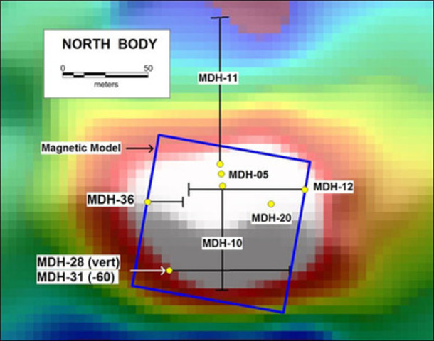 Figure 4. Magnetic model (blue frame), RTP ground magnetic image and location of completed drill holes. (CNW Group/RTG Mining Inc.)
