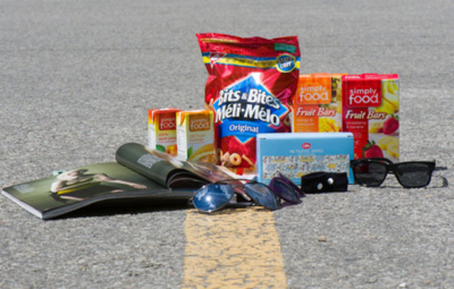 As Canadians gear up for road trips, Shoppers Drug Mart is ready with plenty of road-worthy supplies - handy snacks like tetra pack juices, nuts and chips, summer-themed water bottles and wet wipes for easy cleanups. Other road trip essentials include sunglasses, anti-nausea bands, reading materials and pre-paid gas cards. (CNW Group/Shoppers Drug Mart Corporation)