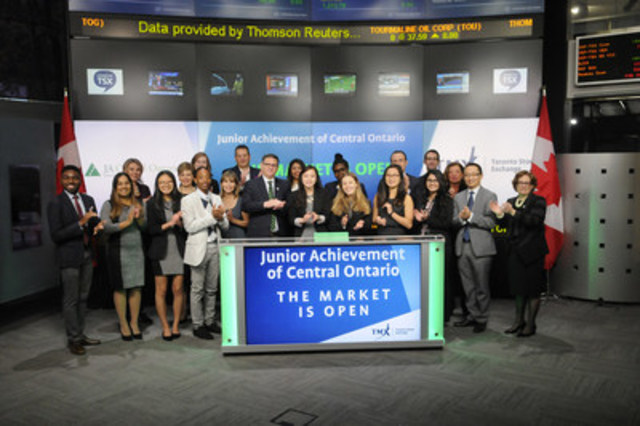 Winners of the TMX JA Alumni Innovation Challenge and Jane Eisbrenner, President & CEO, Junior Achievement, Central Ontario joined Jean Desgagne, President and CEO, Global Enterprise Services, TMX Group to open the market. The JA Alumni Innovation Challenge is a two-night event where participants address evolving issues facing TMX Group and the capital markets industry in three areas: big data, social media and technology. Held at the eXplore TMX Innovation Lab, the teams must create a business plan and digital strategy with the potential to generate $1 million within three years. The winning team ThinkAhead created a mobile platform that would assist millennials as they learn about capital markets, investing and ultimately launching and listing on TSX. JA Central Ontario provides financial literacy, entrepreneurship and work readiness programs to students. Their programs help students make informed financial decisions, develop career plans and express their innovative spirit.  For more information please visit https://www.tmx.com/newsroom/press-releases?id=479 (CNW Group/TMX Group Limited)