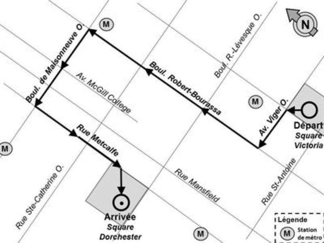 Route of demonstration - FAE strike (CNW Group/Federation autonome de l'enseignement (FAE))
