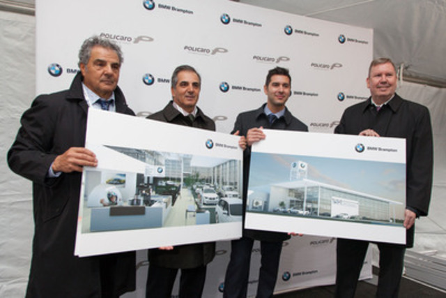 A glimpse of the future home of BMW Brampton. From left to right: Basil Policaro, Investor for the Policaro Automotive Group; Paul Policaro, Dealer Principal, BMW Brampton; General Manager for BMW Brampton, Mr. Francesco A. Policaro; and, President and CEO of BMW Group Canada, Mr. Hans Blesse. (CNW Group/Policaro Automotive Family)