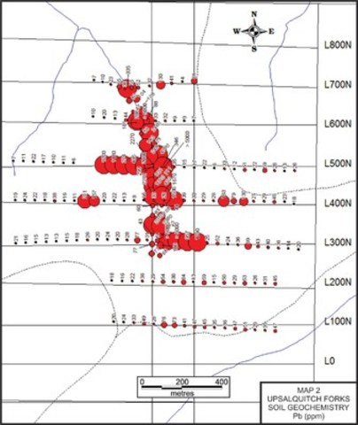MAP 2 UPSALQUITCH FORKS SOIL GEOCHEMISTRY Pb (ppm) (CNW Group/Wolfden Resources Corporation)