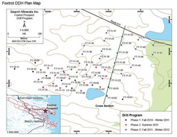 Foxtrot DDH Plan Map (CNW Group/Search Minerals Inc.)