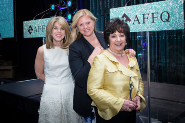 """From left to right: Dana Ades-Landy, Regional Vice-President, Québec and Eastern Ontario, Commercial Banking Scotia Bank and Chairman of the Board of the AQWF, Françoise Lyon, senior Vice-President, Pembroke Private Wealth Management Ltd., and Monette Malewski, President, M Bacal Group, winner of the """"Inspiration - Andrée Corriveau"""" Award.  (CNW Group/Association des femmes en finance du Québec (AFFQ))"""
