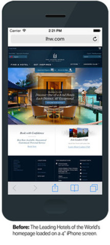"Before: The Leading Hotels of the World's homepage loaded on a 4"" iPhone screen. (CNW Group/Mobify)"