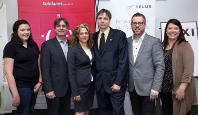 Maude Gauthier, student; François Côté, President, TELUS Québec; Julie Lavigne, principal, École secondaire Cavelier-De LaSalle; Jean-Luc Taschereau, President, Mental Illness Foundation; Christian Quenneville, General Director, TAXI Montréal; and Catherine Burrows, Director of Youth Programs, Mental Illness Foundation. (CNW Group/MENTAL ILLNESS FOUNDATION)