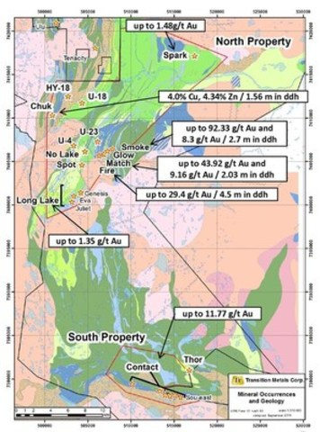 Figure 1: Geology and Showings of the CO-20 Property based on historical data (CNW Group/Transition Metals Corp.)