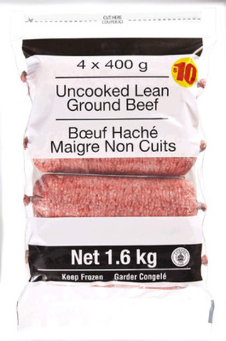 Product Recall: Frozen Uncooked Lean Ground Beef 1.6 kg (4x400g) package size (CNW Group/Loblaw Companies Limited)