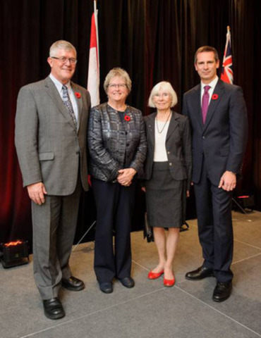 From left: Max Blouw, Chair of COU and President of Wilfrid Laurier University; Bonnie M. Patterson, President and CEO of COU; Reverend Mary Smith; and Dalton McGuinty. (CNW Group/Council of Ontario Universities)